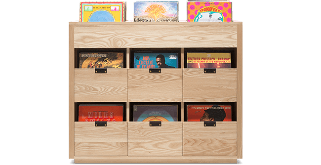 Dovetail Vinyl Storage Cabinet 3X2.5 with room for 810 records built from premium North American hardwood. Light wood color, soft-close under-mount drawers slides, and tanned leather handles.