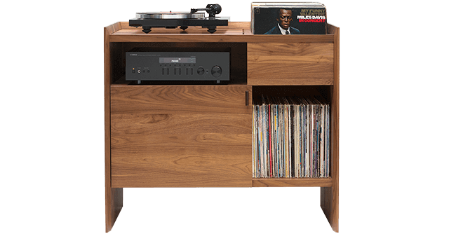 Unison Record Storage Stand with flip-style LP storage bins, vibration isolated record player platform, and audio cabinet room for hi-fi sound equipment. Crafted from premium North American hardwoods and focused on premium vinyl storage.